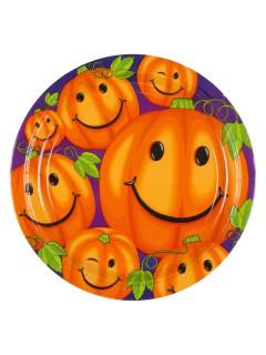 Halloween Pappteller mit Kürbissen 8 Stück bunt 23cm