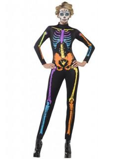 Neonfarbener Skelettanzug für Damen Tage der Toten Kostüm schwarz-bunt