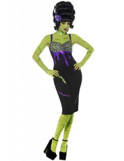 Monsterkostüm für Damen Halloween schwarz-lila-grün