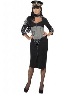 Steampunk-Offizier Damenkostüm schwarz-grau