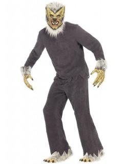 Werwolf-Kostüm Halloween-Kostüm grau-weiss-gelb