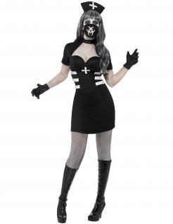 Delirium Krankenschwester Halloween Damenkostüm schwarz-weiss