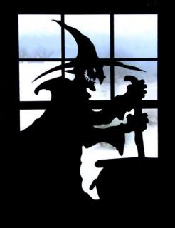 Hexe Fenster-Aufkleber Halloween-Deko schwarz 80x60cm