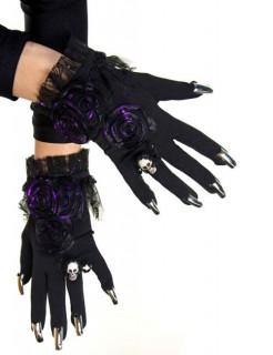 Hexe Gothic-Handschuhe mit Nägeln schwarz-lila