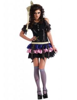 Zombie-Horror-Puppe Damenkostüm für Halloween bunt