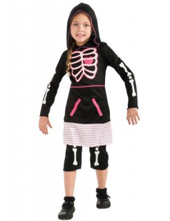 Skelett-Mädchen Halloween-Kinderkostüm schwarz-weiss-pink