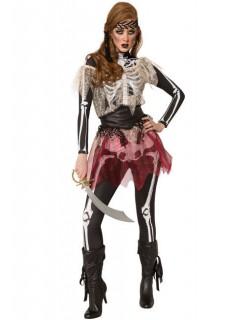 Skelett-Piratenkostüm Halloween-Damenkostüm schwarz-weiss
