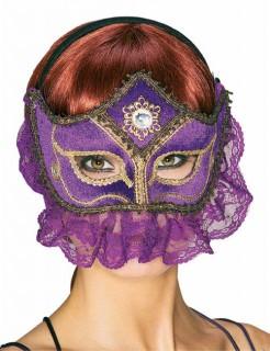 Venezianische Spitzen-Augenmaske violett