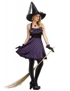Süße Hexe Damenkostüm Halloweenkostüm lila-schwarz