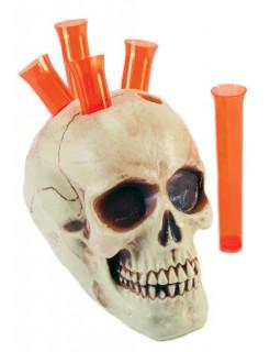 Totenschädel Shot-Halter Schnapsglashalter weiss-rot 15x15cm