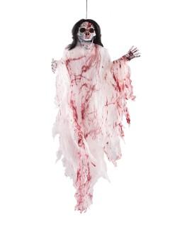 Skelett-Hängedeko Halloween-Dekoration weiss-schwarz-rot 152cm