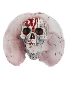 Blutiger Skelett-Schädel Halloween-Deko weiss 14x20x13cm