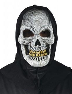 Kapuzen-Halloween-Maske Skelett grau