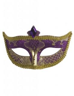 Venezianische Domino-Augenmaske Glitzer lila-gold