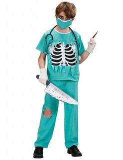 Zombie Doktor Halloween-Kinderkostüm grün