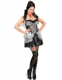 Barock Vampirin Halloween Damenkostüm schwarz-grau