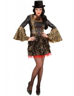 Gothic-Vampirin Halloween Damenkostüm gold-schwarz