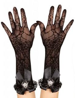 Netz-Handschuhe Gothic mit Spinne und Rüschen Halloween-Accessoire schwarz