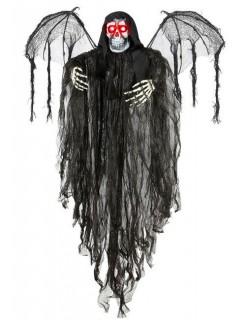Skelett-Dämon mit Leuchtaugen Halloween-Deko grau-schwarz 100cm