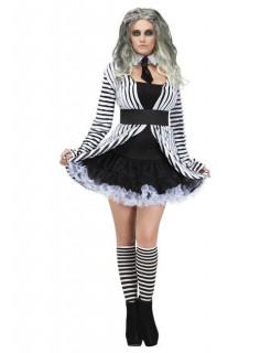Gothic-Geist Damenkostüm Halloweenkostüm schwarz-weiss