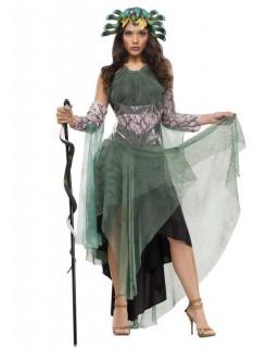 Medusa-Kostüm für Damen mit Kopfschmuck grün