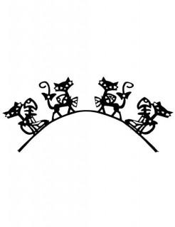 Kunst-Wimpern aus Papier Katzen Halloween-Accessoire schwarz