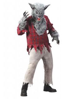 Werwolf Halloween-Kostüm grau-rot