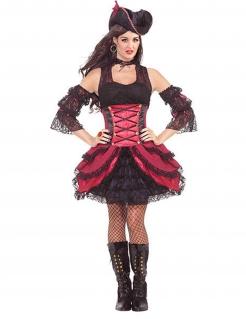 Piratinnenkostüm im Burlesque-Stil rot-schwarz