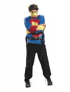 Zwangsjacke Psycho Halloween-Kostüm blau-rot