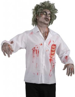 Zombie Halloween-Hemd weiss-rot