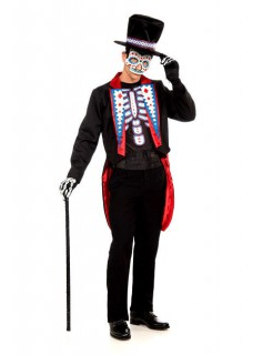 Skelett-Bräutigam Halloween-Kostüm schwarz-rot-weiss