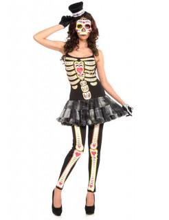 Süsses Skelett Halloween Damenkostüm schwarz-weiss-rosa