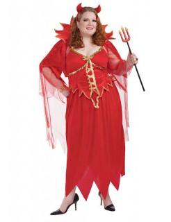 Teufelin-Kostüm für Damen Faschingskostüm Übergröße rot-gold