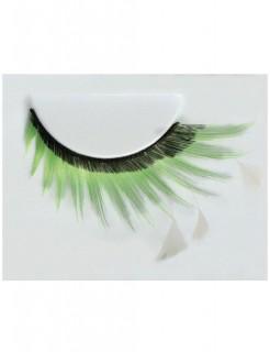 Wimpern mit Federn schwarz-grün-weiss