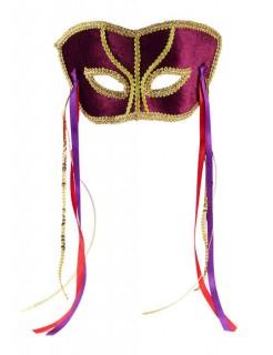 Venezianische Augenmaske bordeaux-gold