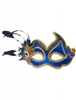 Venezianische Augenmaske mit Federn blau-gold