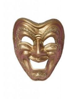 Venezianische Maske Harlekin lachend gold