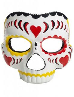 Dia de los Muertos Augenmaske Halloween weiss-bunt