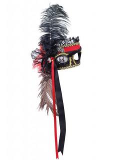 Venezianische Piraten-Augenmaske schwarz-rot