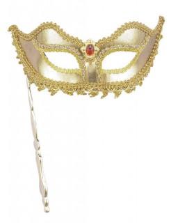 Venezianische Augenmaske mit Stab gold