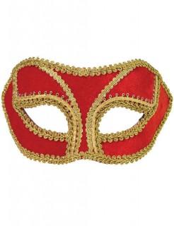 Venezianische Augenmaske Maskenball rot-gold