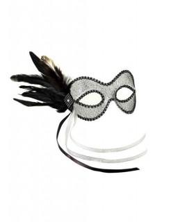 Venezianische Federn-Augenmaske silber-schwarz