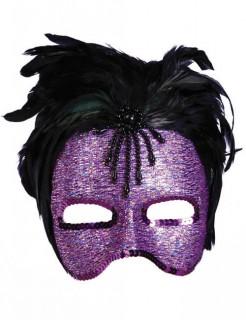 Venezianische-Augenmaske mit schwarzen Federn lila