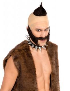 Troll-Perücke Haare und Bart schwarz-hautfarben