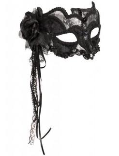 Venezianische Augenmaske Damenmaske Spitze silber-schwarz
