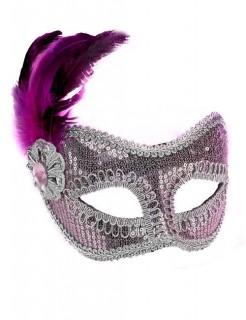 Venezianische Augenmaske Pailletten rosa-silber