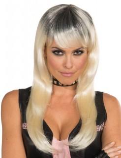 Langhaar-Perücke Rockstar Kostümaccessoire Halloween blond-schwarz