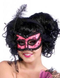 Venezianische Augenmaske mit Pailletten und Feder pink-schwarz