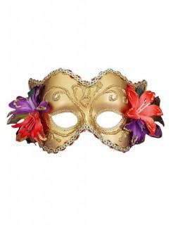 Venezianische Augenmaske Blumen gold