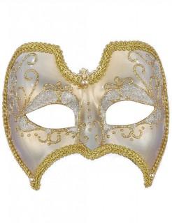 Venezianische Augenmaske mit Ornamenten Glitzer weiss-gold